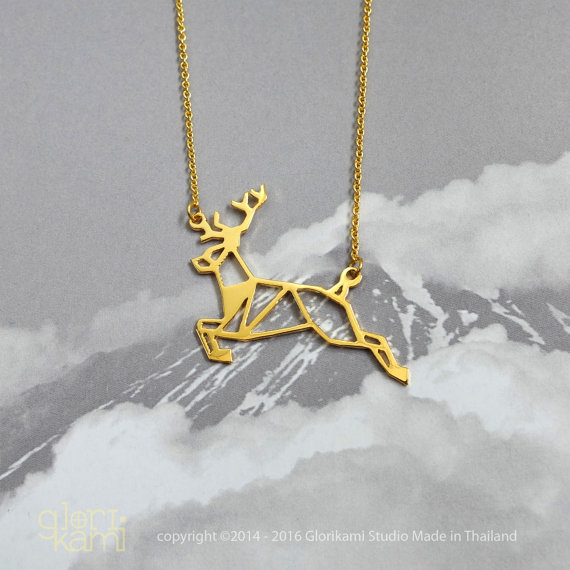 Deer Necklace, Origami Necklace, Animal Necklace, Gold plated necklace, Unique necklace, Christmas Gifts, gift for her, Gift under 30
