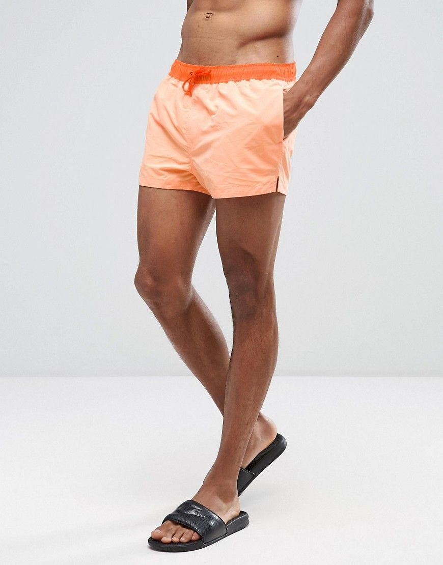 64022f713c ASOS Swim Shorts In Orange With Contrast Waistband & Drawcord Super ...