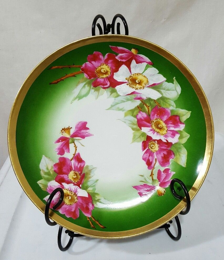 Details about Antique LIMOGES CORONET GREEN PINK HAND PAINTED FLORAL ...