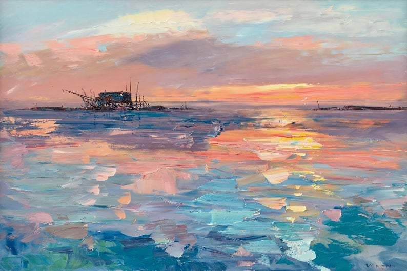 Photo of Sunset Painting on Canvas 60″, Original Art, Ocean Painting, Impressionist Painting, Living Room Decor, Extra Large Wall Art, Gift