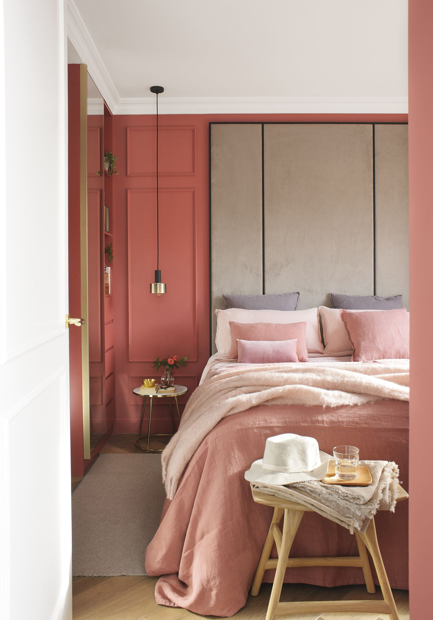 Pink Upholstered Wall With Images Coral Home Decor Bedroom