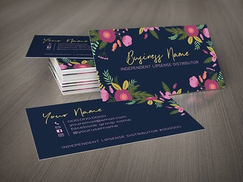Navy Floral Business Card Template Makeup Artist Business Cards Templates Floral Business Cards Business Cards Layout