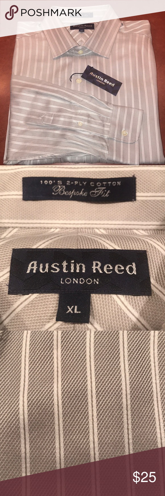 Austin Reed London Men S Button Dress Shirt Xl New With Tag S Original Price Was 89 50 Size Extra Large Long Sleeve Gray And Austin Reed Button Dress Shirts