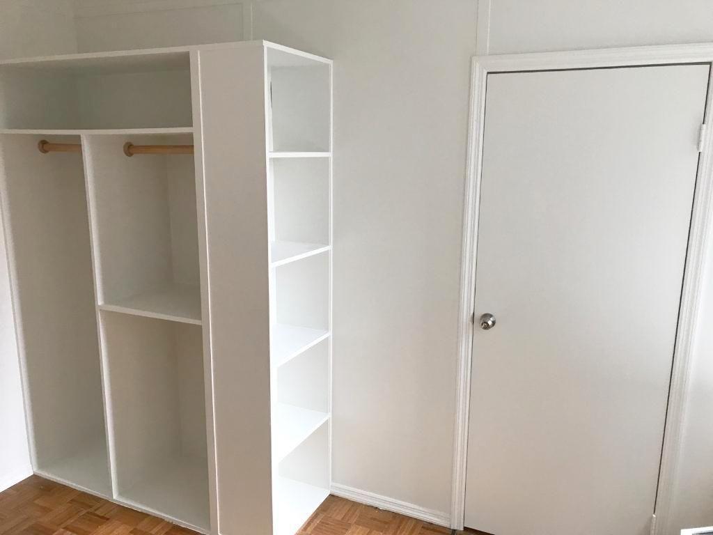 Recent installation: Temporary room divider with custom wardrobe ...