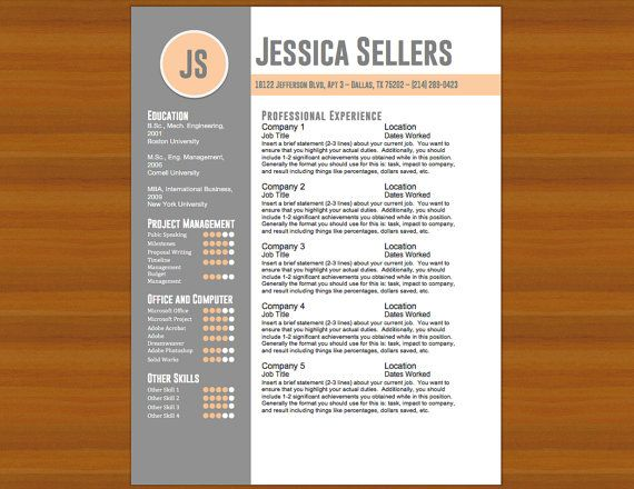 Resume \/ CV \ Cover Letter -The Sellers - Peach \/ Gray - Instant - resume template docx