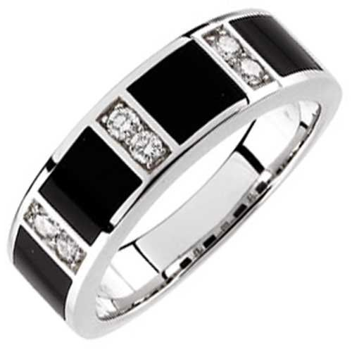 Simple  Kt White Gold Charming Black Onyx and Diamond Men us Wedding Band