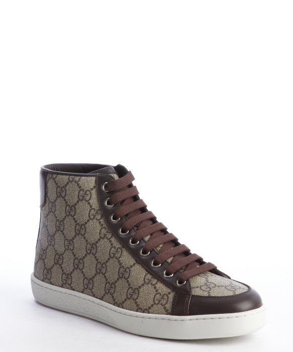 adb1b153df9 Gucci brown GG canvas lace-up hi-top sneakers