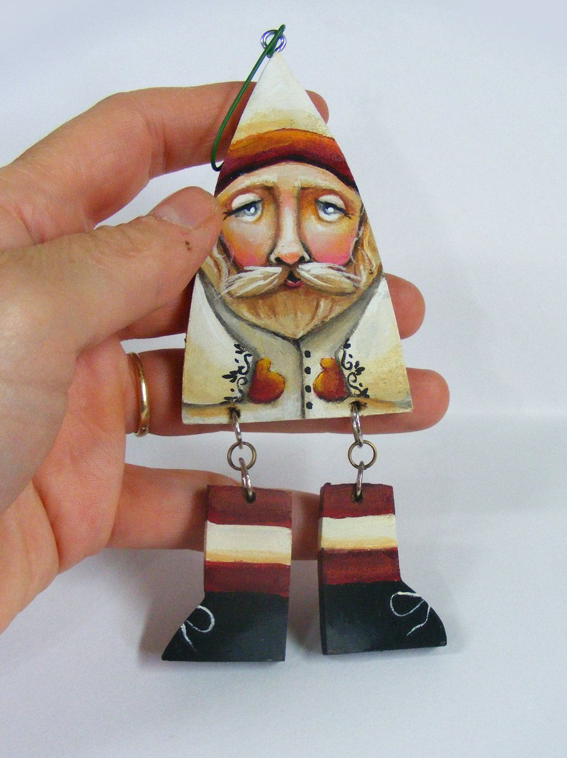Folk Art Primitive Santa Claus Ornament Entirely