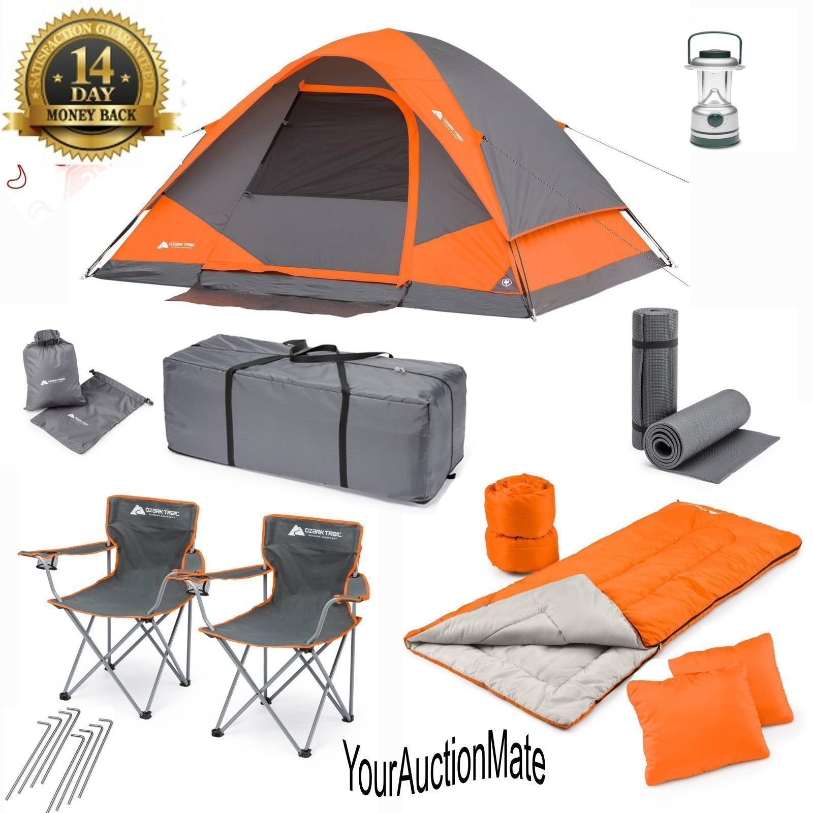 Camping Tent Combo Set 22 Piece 2 Sleeping Bags 2 Pillows 2 Chairs ...