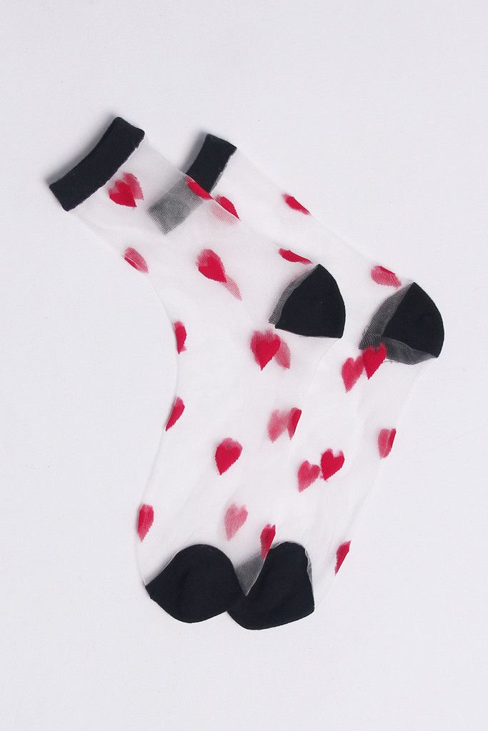 Very Goods   Sheer Heart Ankle Socks Red - THE WHITEPEPPER