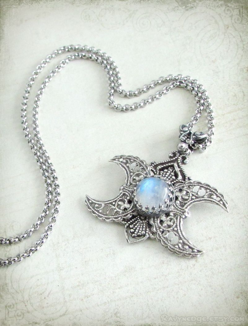 i link nu necklace jewelry pastel pagan moon goddess goth wiccan triple