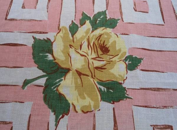 Vintage 50s Printed Linen Tablecloth Yellow Flowers on Pink 47x50