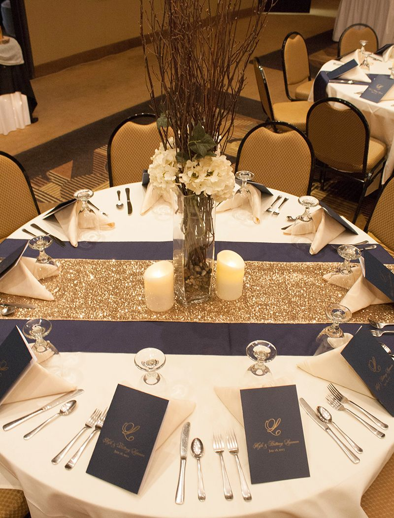I Like The Two Toned Table Runners. The Centerpiece Is Too Tall.