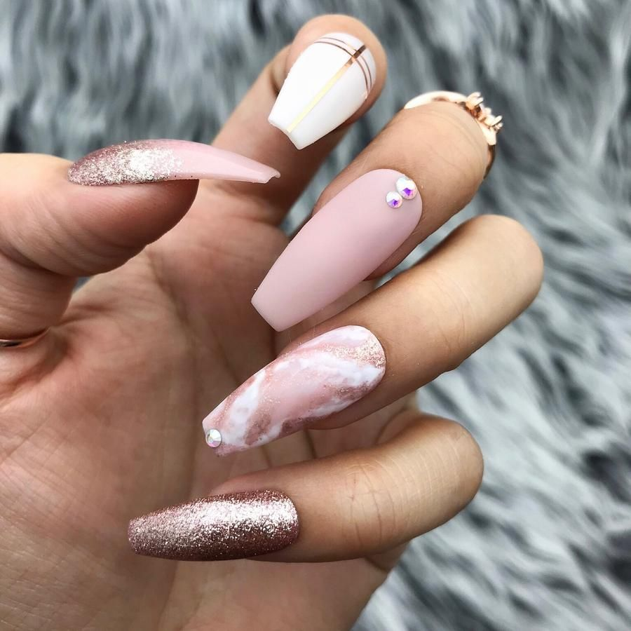 Handmade Love Affair Rose Gold Foil Ombre Matte Pink Marble W Bling Accent Gorgeous Nails Fake Nails Gel Nails