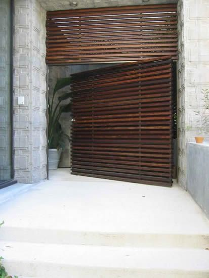 horizontal slat door & SLATTED WOOD | Pinterest | Modern architecture Doors and Architecture