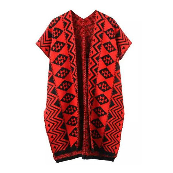 Red Black Geometric Print Knit Cardigan (325 ARS) ❤ liked on Polyvore featuring tops, cardigans, geometric cardigan, knit tops, geo cardigan, black knit top and geo print cardigan