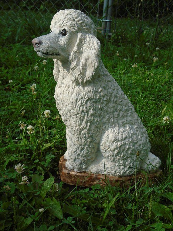 Dogs Grave Marker Concrete Poodle Statue Or Use As A Memorial 13 5 Tall Collectibles