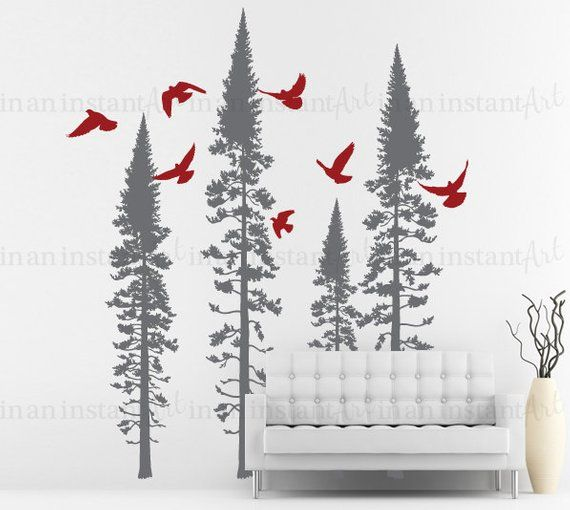 forest tree wall decal, fir trees with flying birds vinyl wall decal