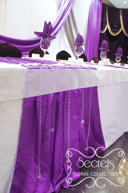 A Crystallized Royal Purple And Silver Wedding Reception