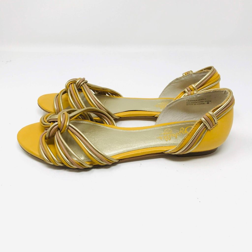 Seychelles Shoes | Seychelles Yellow Gold Knotted Peep Toe Flats | Color: Gold/Yellow | Size: 8
