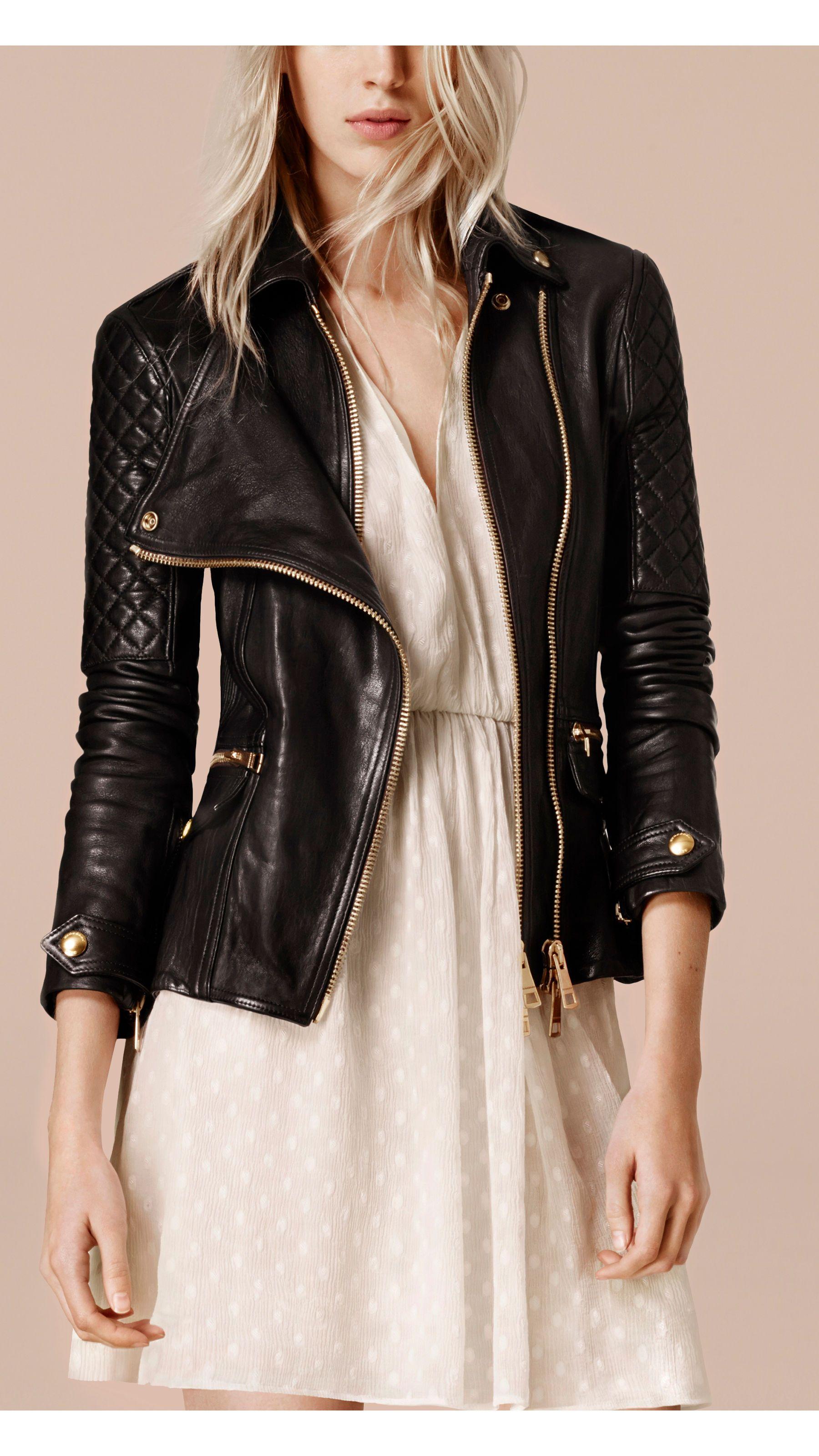 49d0905c931e8 Diamond Quilt Detail Leather Biker Jacket Black