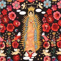 black designer fabric La Virgencita with flowers, statues of Virgin Mary, birds & gold