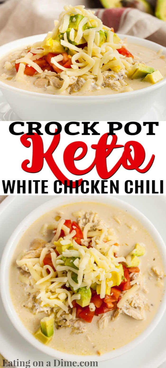 Crock pot Keto White Chicken Chili Recipe - best keto chili