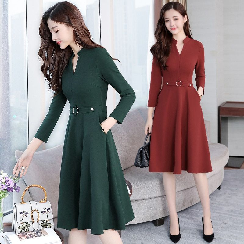 Plus Size 2018 Autumn Winter New Black Midi Dresses Women Elegant Korean  Bodycon V Neck Dress Party Long Sleeve Runway Vestidos-in Dresses from  Women s ... f41f8e5af656