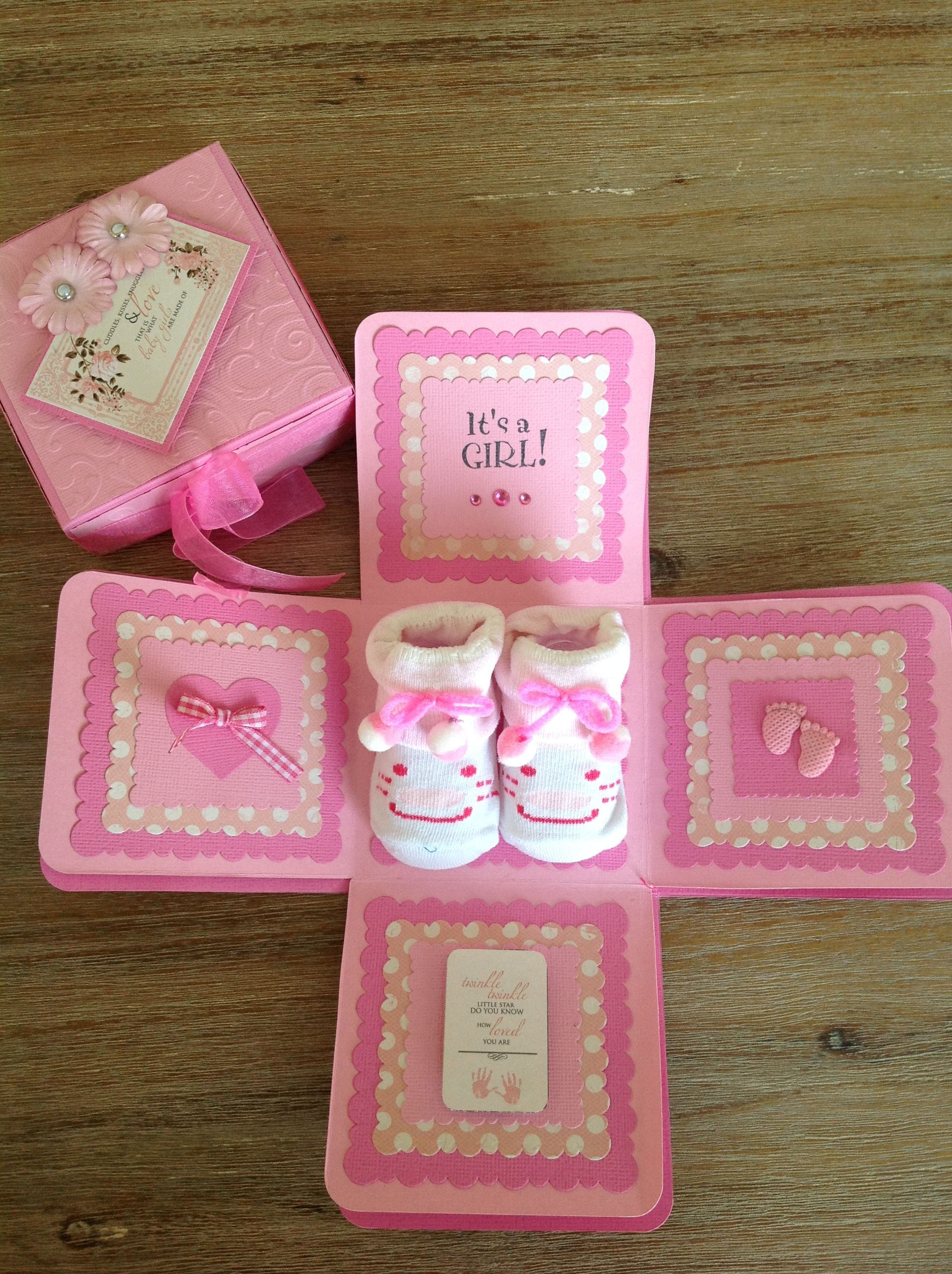 Baby girl explosion gift box in pink gifts gift box