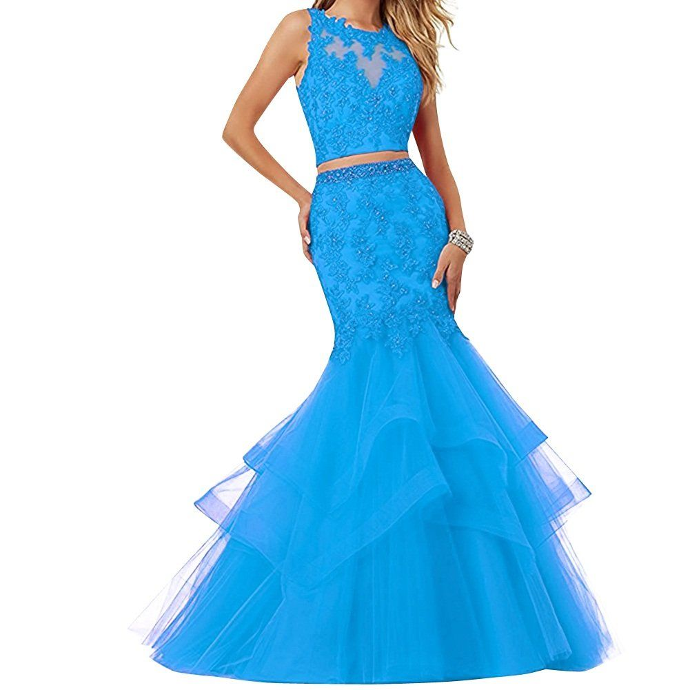 Kama bridal womens mermaid two piece prom dresses long tulle