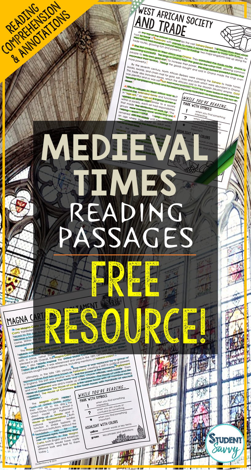 Predownload: Medieval Times Middle Ages Reading Passages Free Resource Reading Passages Reading Comprehension Questions Reading Comprehension Passages [ 1536 x 816 Pixel ]