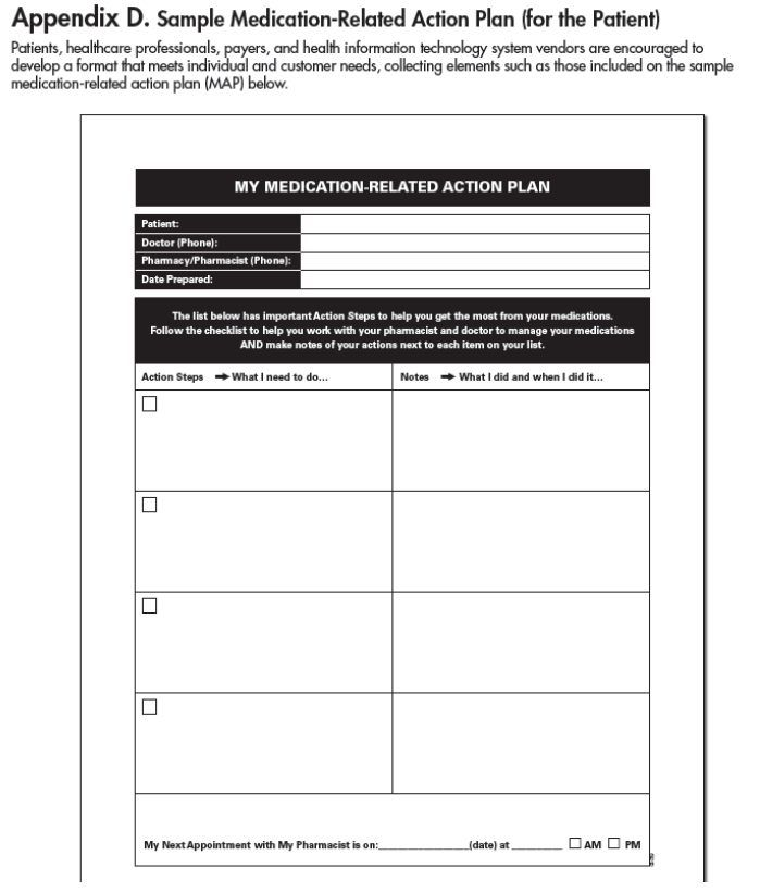 Figure 4 CMS Medication-Related Action Plan Template Health - plan of action template