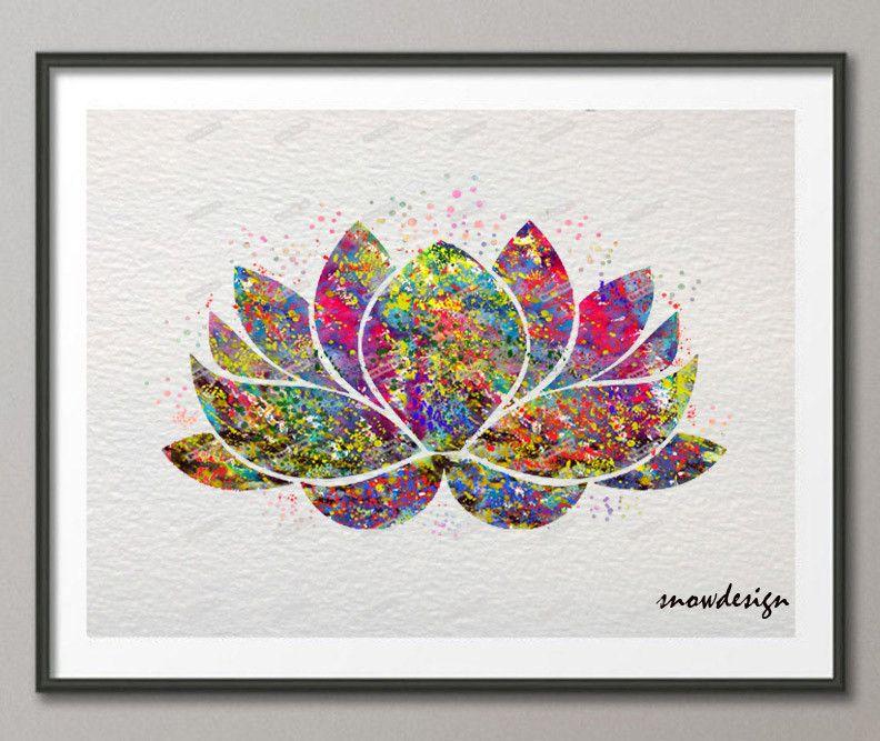 Buy lotus flower yoga symbol watercolor