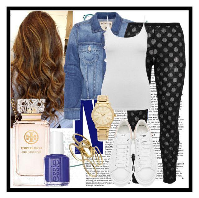 """Denim Jacket Style"" by deedee-pekarik ❤ liked on Polyvore featuring True Religion, Boris, M&Co, Alexander McQueen, Michael Kors, Kendra Scott, Tory Burch and Essie"