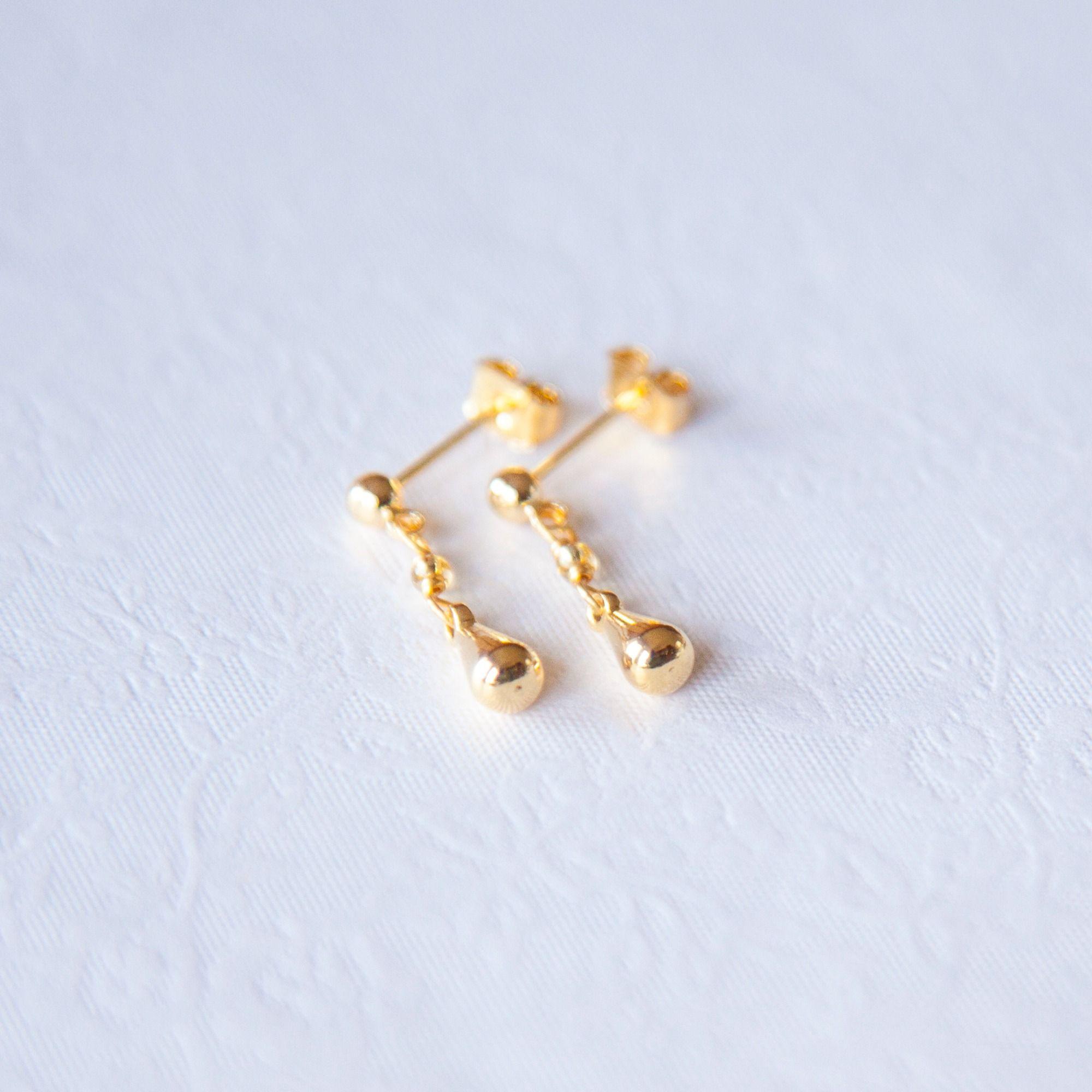 Tiny Tear Drop Earrings Gold Filled Small Minimalist Studs