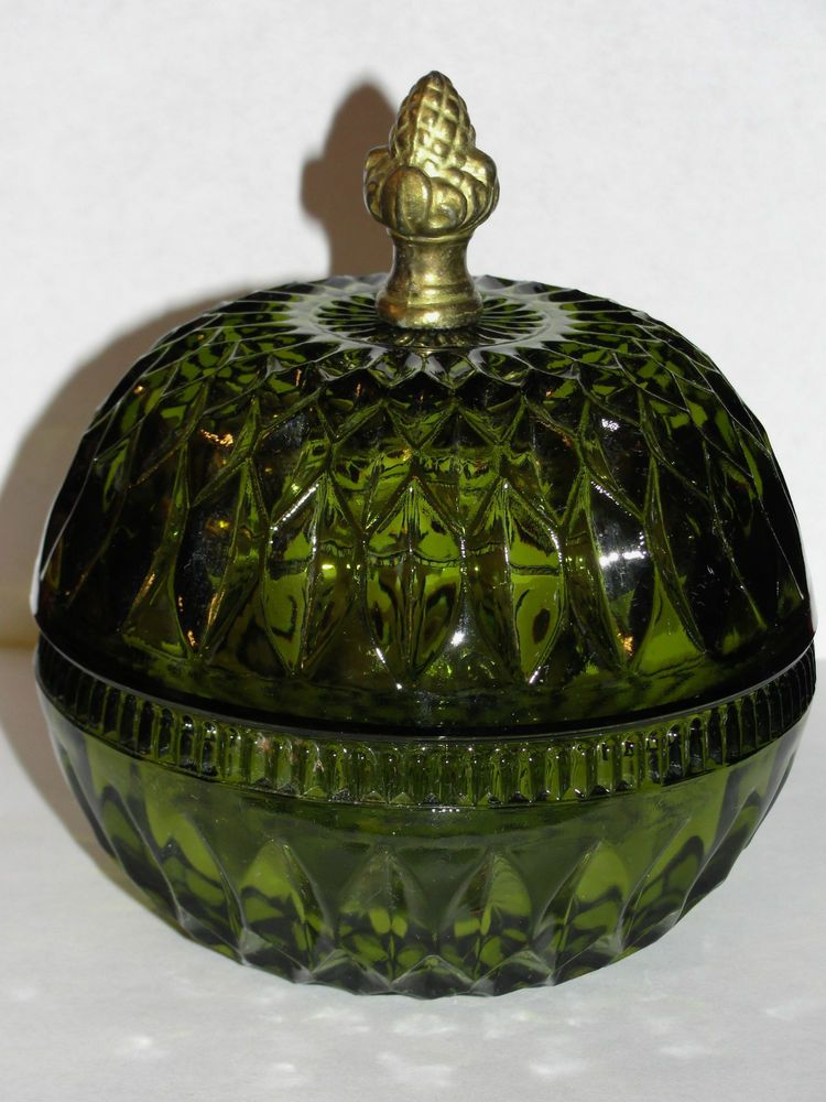 Vintage Olive Green Candy Dish Lidded W