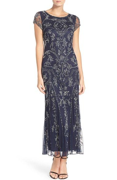 Free shipping and returns on Pisarro Nights Embellished Mesh Gown at Nordstrom.com. Teams of glittering beads and sequins hark back to Jazz Age glamour while patterning a lovely mesh gown cut with a godet-flounced silhouette.