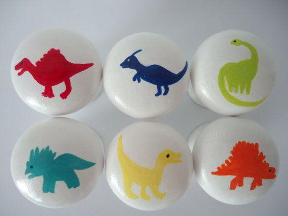Handpainted Wooden Drawer Dinosaur Knobs - Set of 6 | Wooden drawers ...