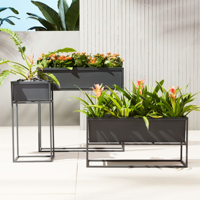 Kronos Outdoor Raised Planters Cb2 Indoor Planter Box Raised Planter Modern Plant Stand