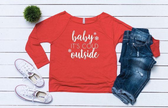 87496b2d52 Ugly sweater party, Women's Christmas outfit ,Baby its cold outside,Women's  holiday top,Cute Christm