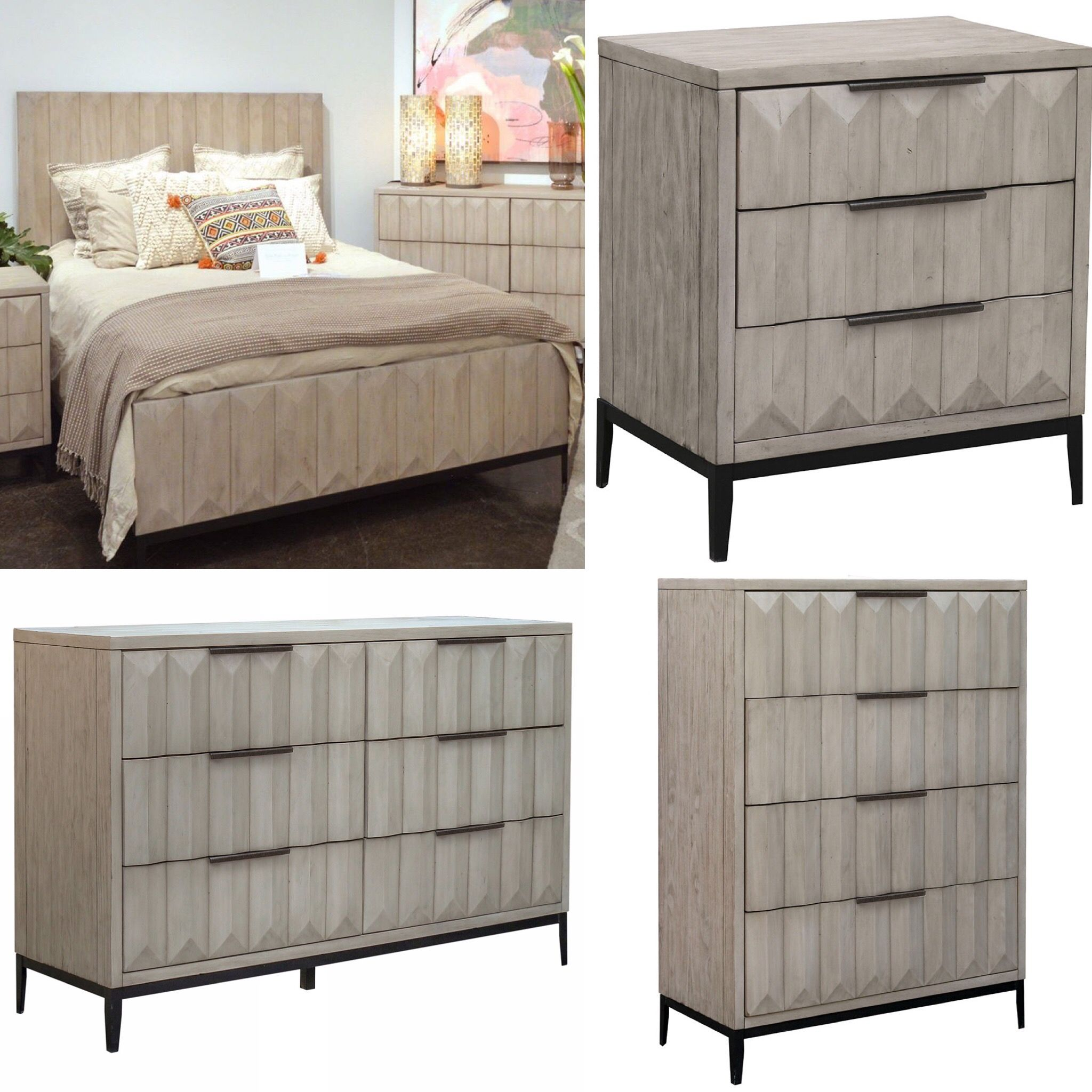 New arrival! This bedroom set features solid pine wood