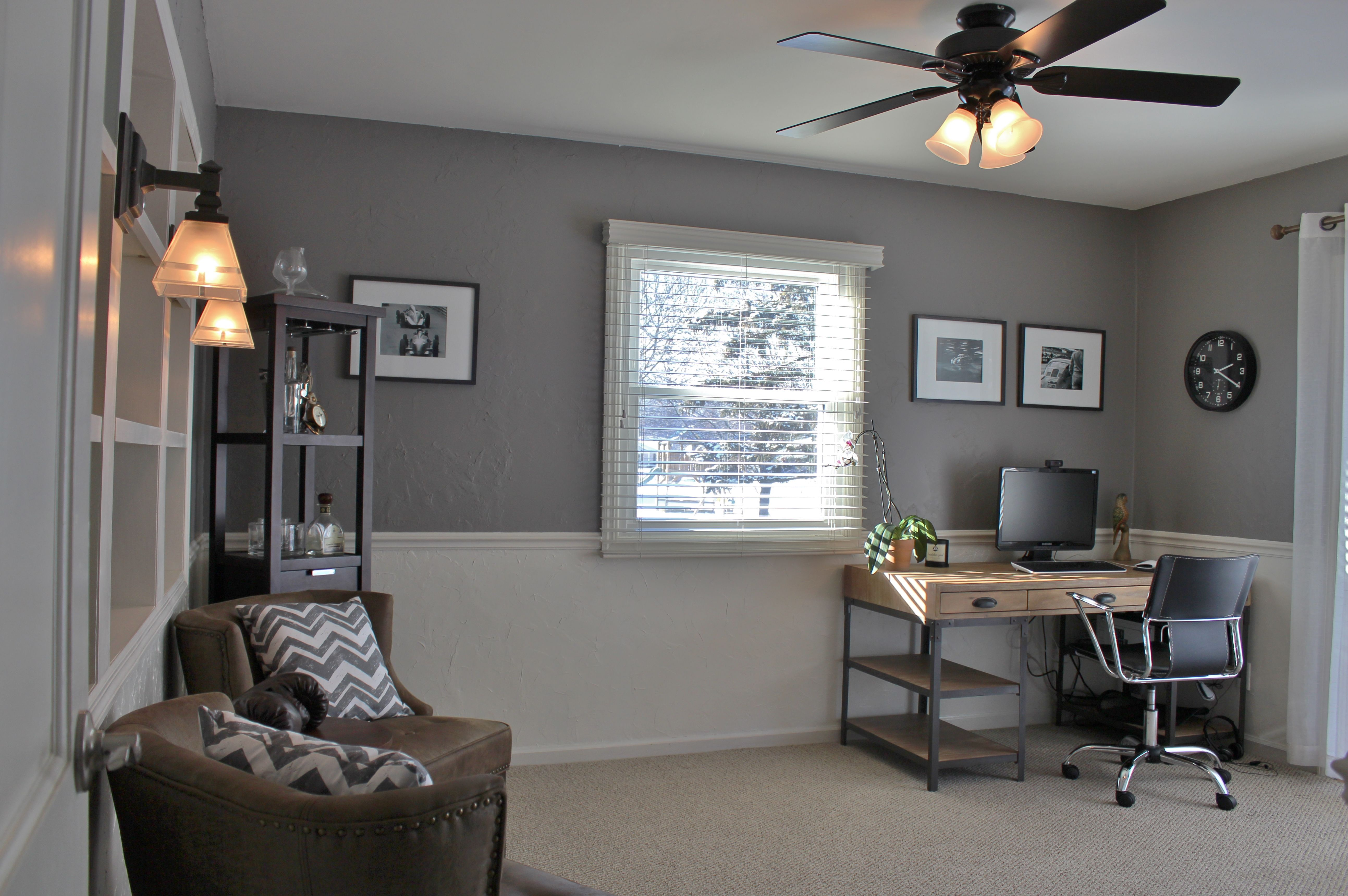 Office After Farrow Ball Charleston Gray Top Farrow Ball Pointing Bottom Home Decor Home Farrow And Ball Paint