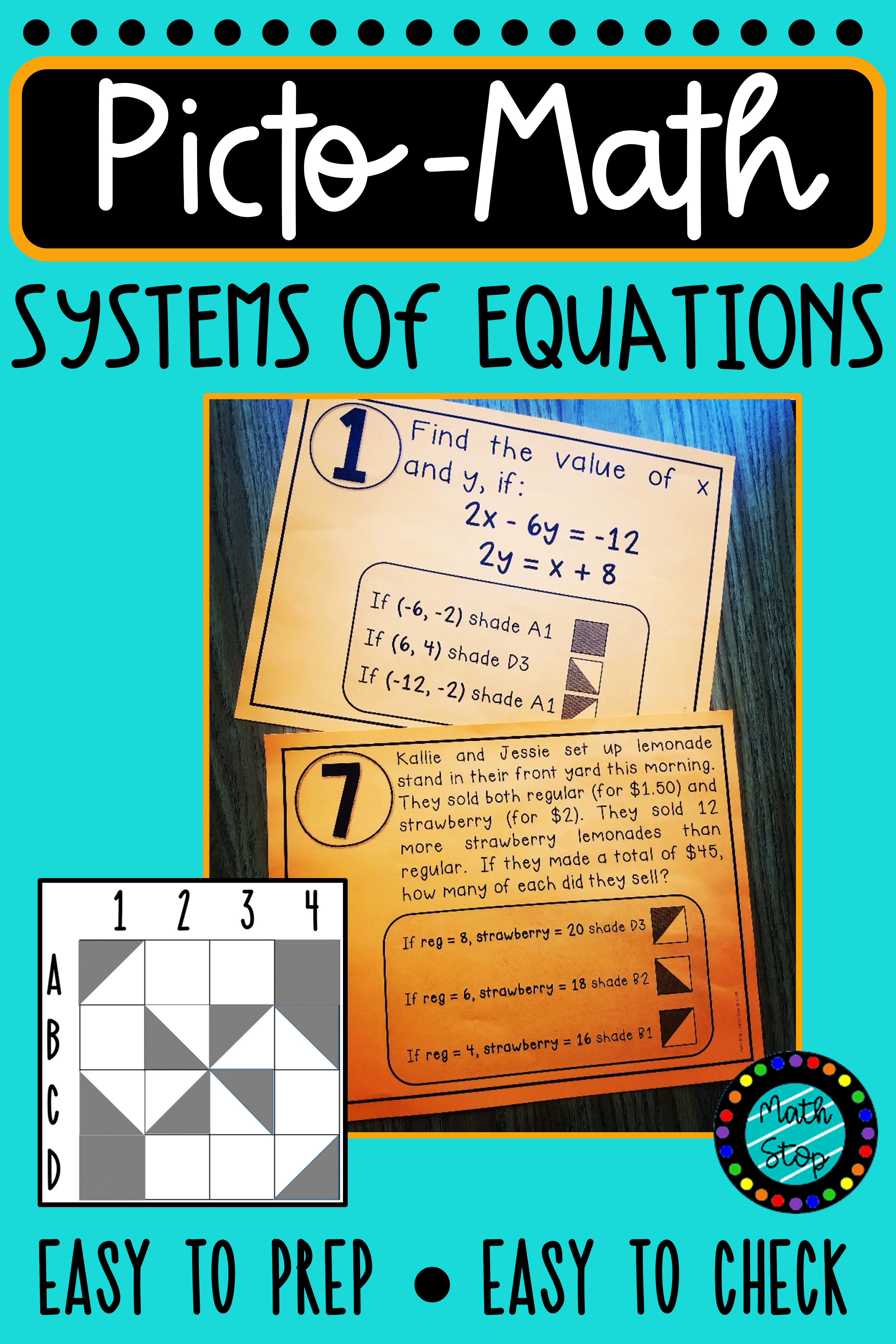 Pictomath Solving Systems Of Equations Activity With