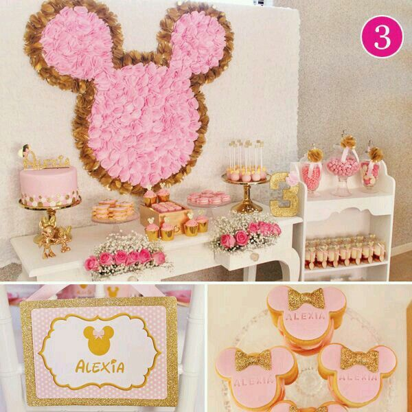 Decoracion Minnie Mouse Dorado Rosa Minnie Mouse Pink And