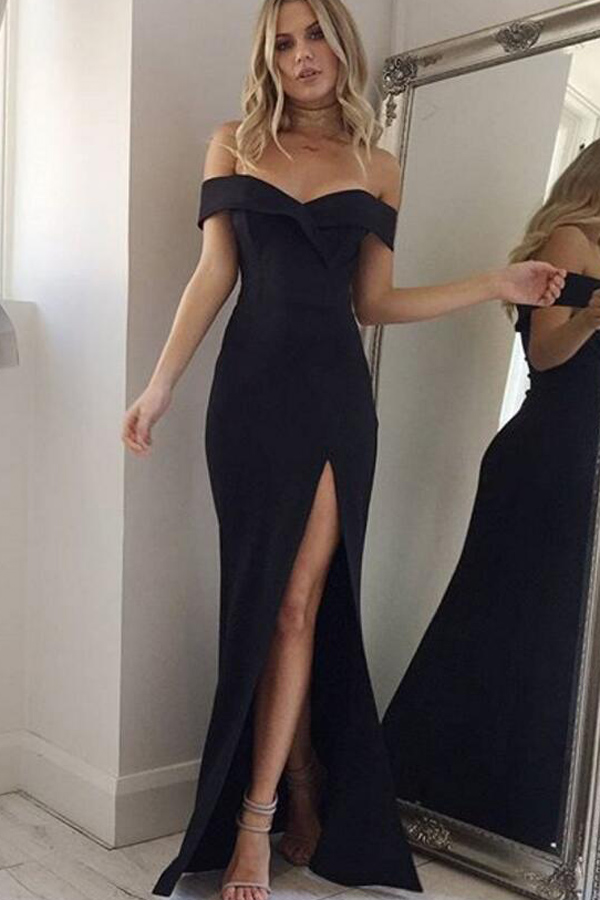 64b1a9832b #WithChic #chicoftheday, Simple Cheap Chic, Shop Black Off Shoulder High  Slit Maxi Party Dress online.