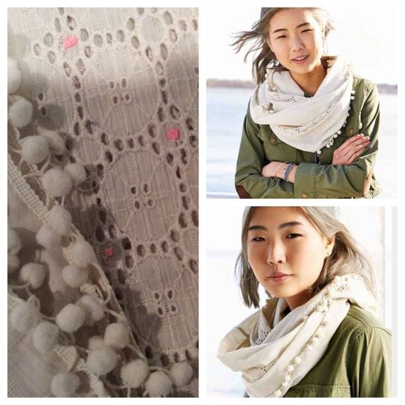 Urban Outfitters Neon Embellished Eternity Scarf Urban Outfitters Neon Embellished Ivory Eyelet Eternity Scarf. Lightweight eternity scarf with woven eyelet detailing, topped with tiny neon beads for a pop of color. Finished with pom fringe trim at both sides. Urban Outfitters Accessories Scarves & Wraps
