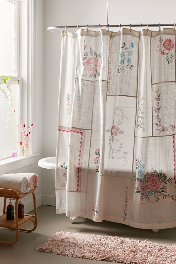 Coralie Patchwork Gauze Shower Curtain Patchwork Curtains