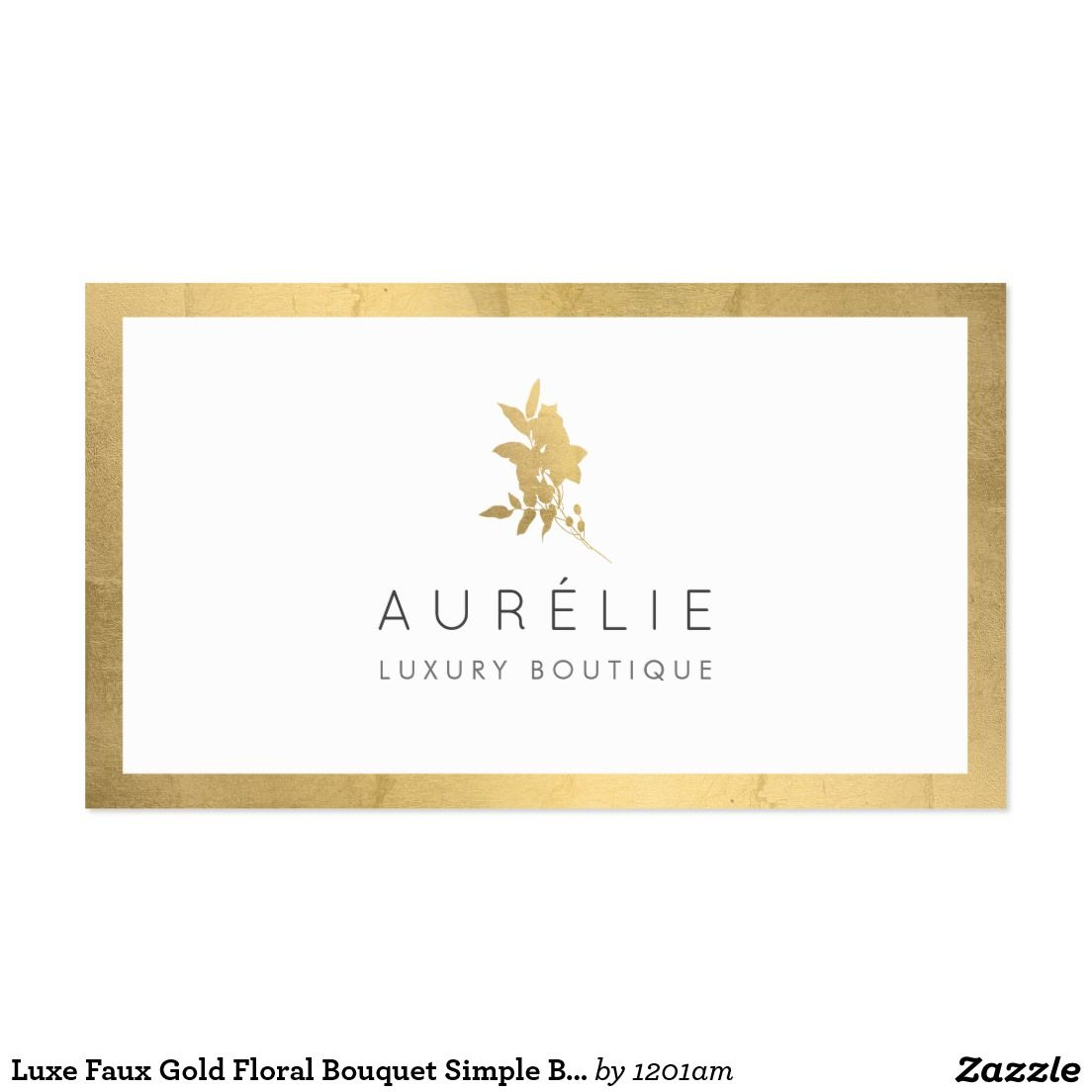 Luxe Faux Gold Floral Bouquet Customizable Business Card for ...