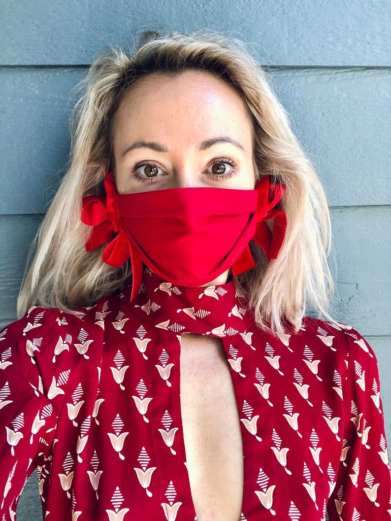 Designer Face Mask in Ruby Red Thinking of You Self Care