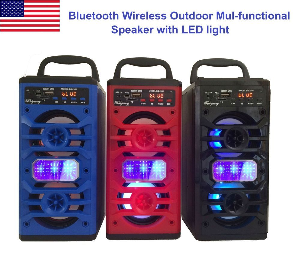 Portable Bluetooth Speaker Super Bass Stereo Wireless Subwoofer FM Radio Outdoor